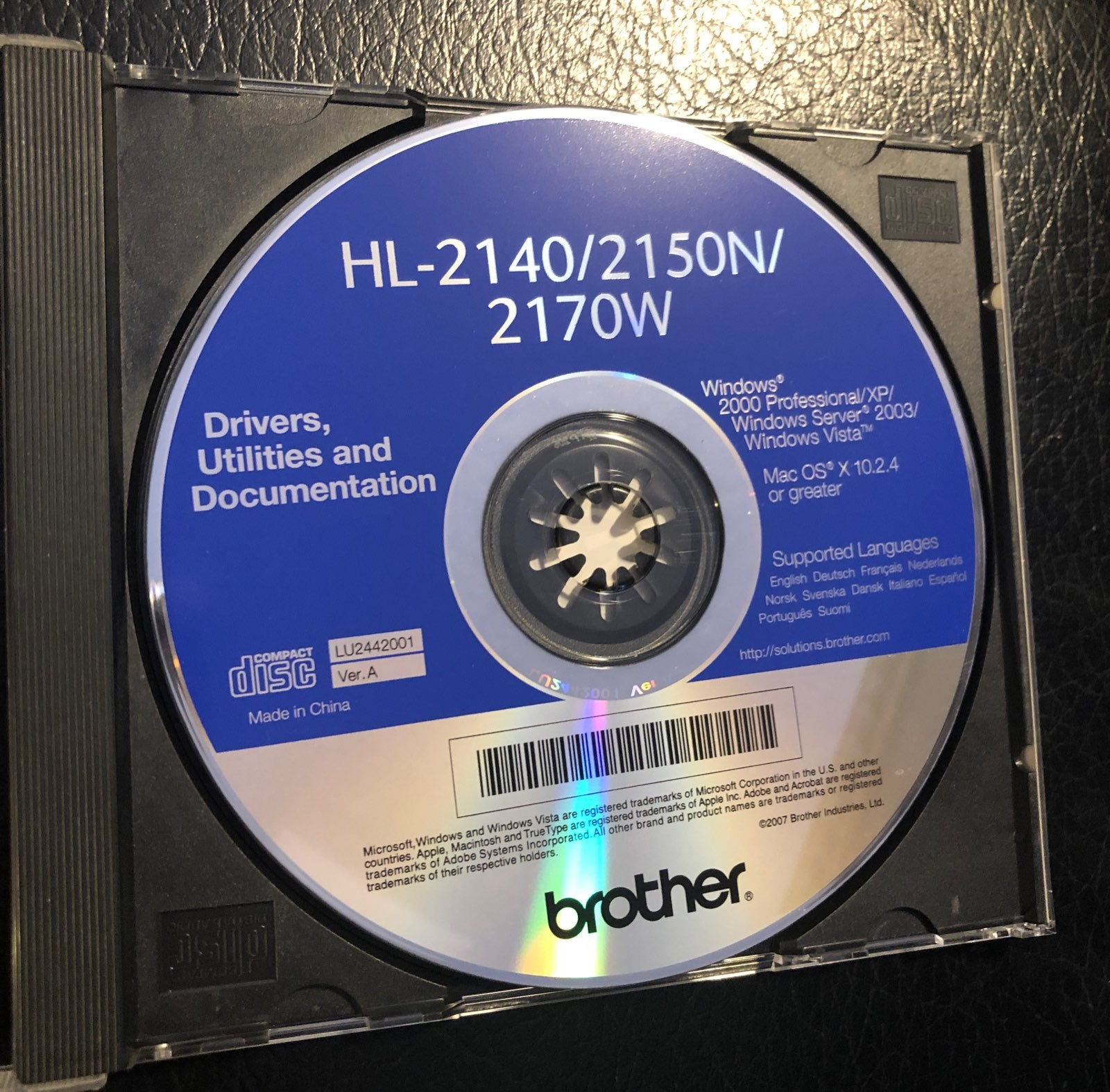 Brothers CD Disk Driver Utilities XP Win