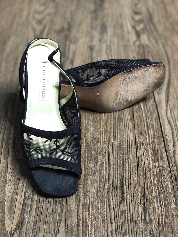 Ann Marino Mesh Peep Toe Slingbacks