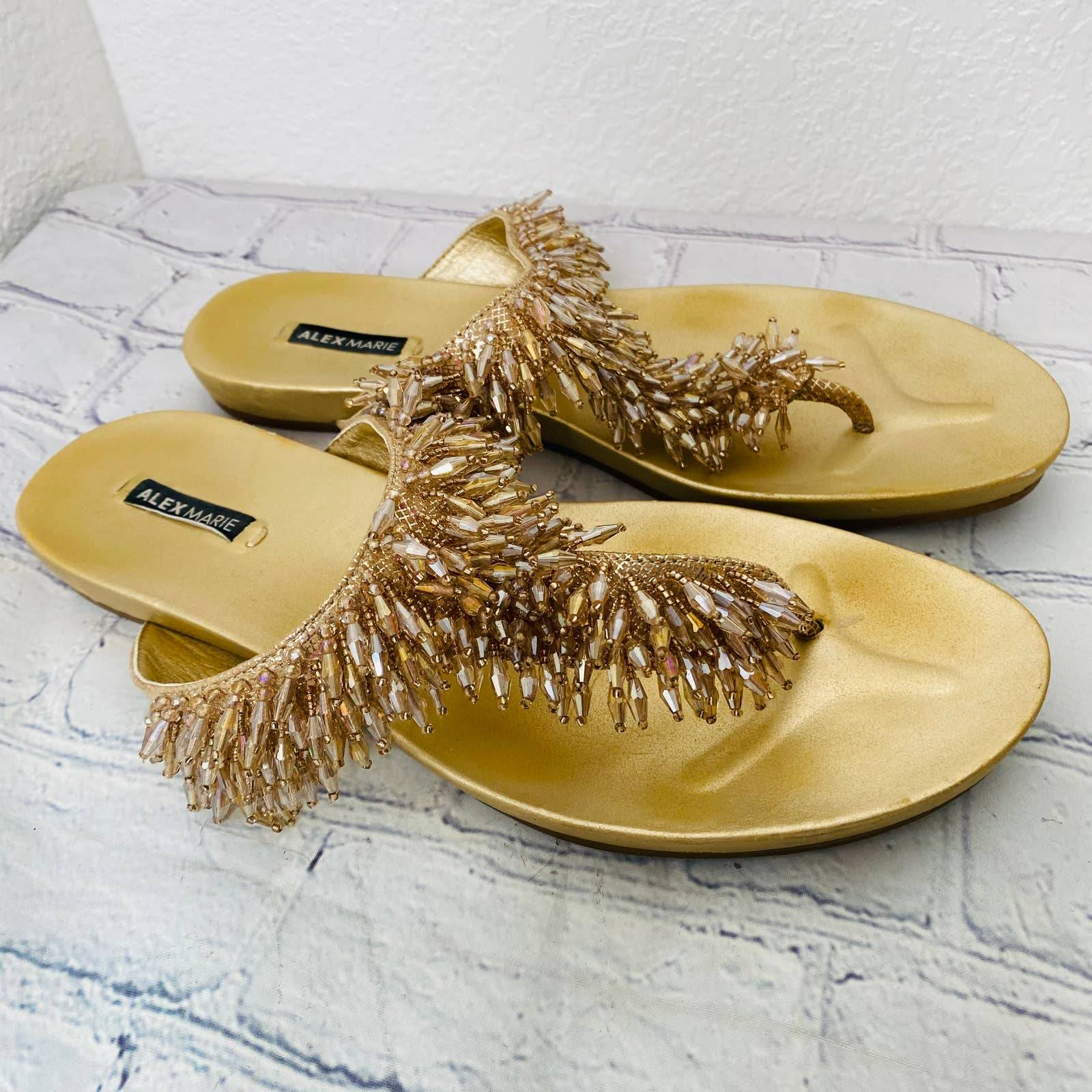 Alex Marie gold sequined  thong sandal 8