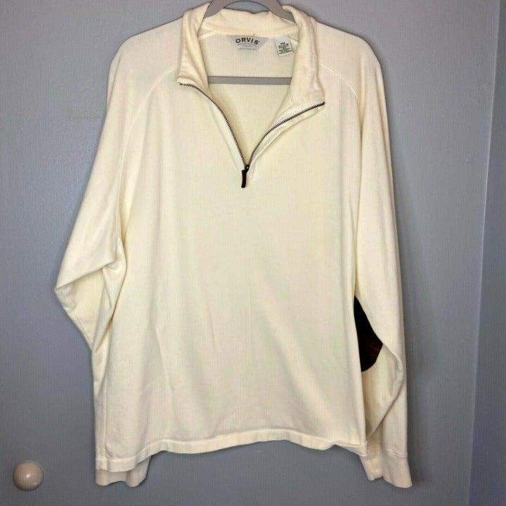 Orvis Mens Ivory Sweater 1/4 Zip XXL