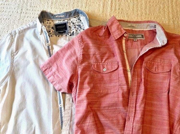 2 Short sleeve dress shirts mens Large