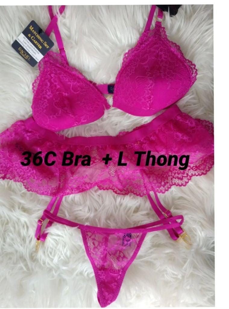 Rachel zoe 36C bra + L garter thong set