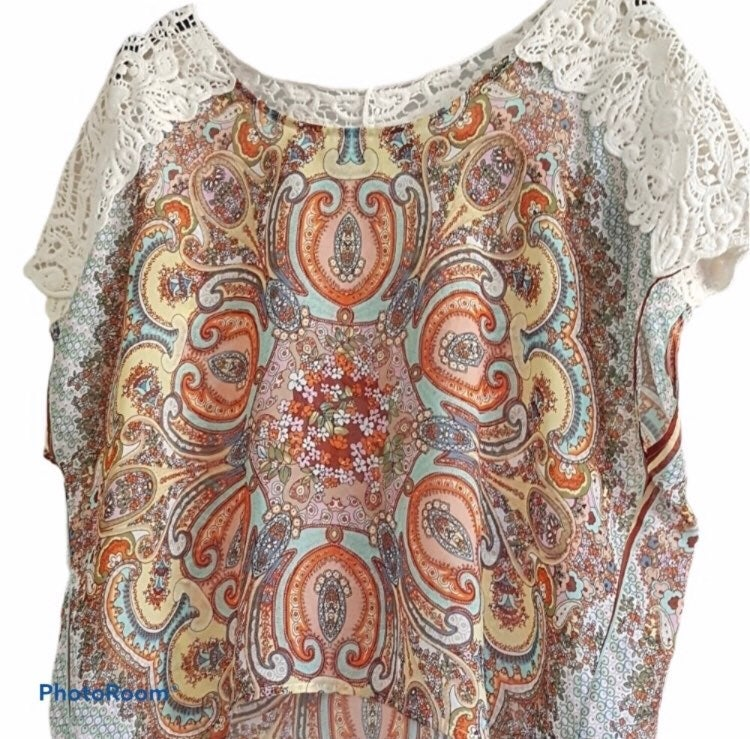 One World Boho Top with Lace XL