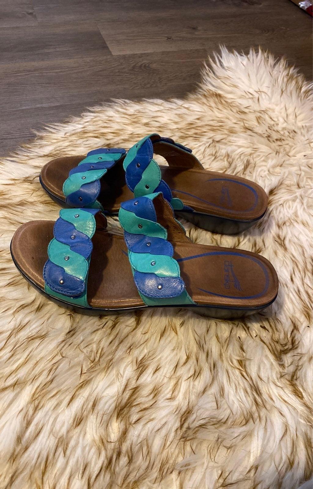 Dansko Teal Blue sandal Leather 40
