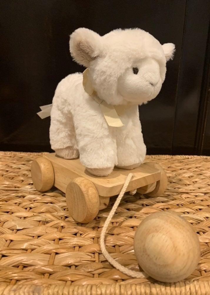 Pottery Barn Kids Plush Pull Toy Lamb