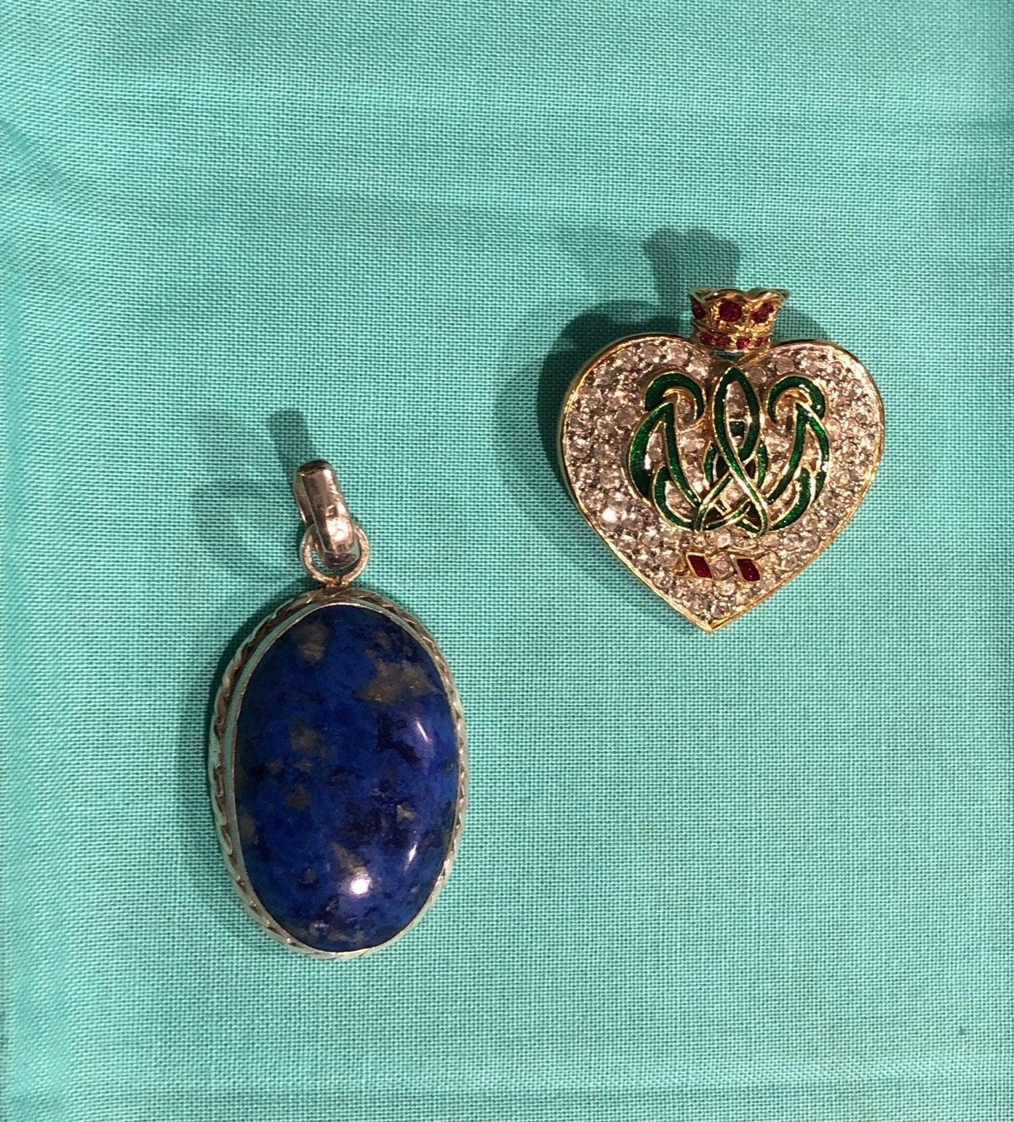 Enameled/Rhinestone GT Heart Brooch