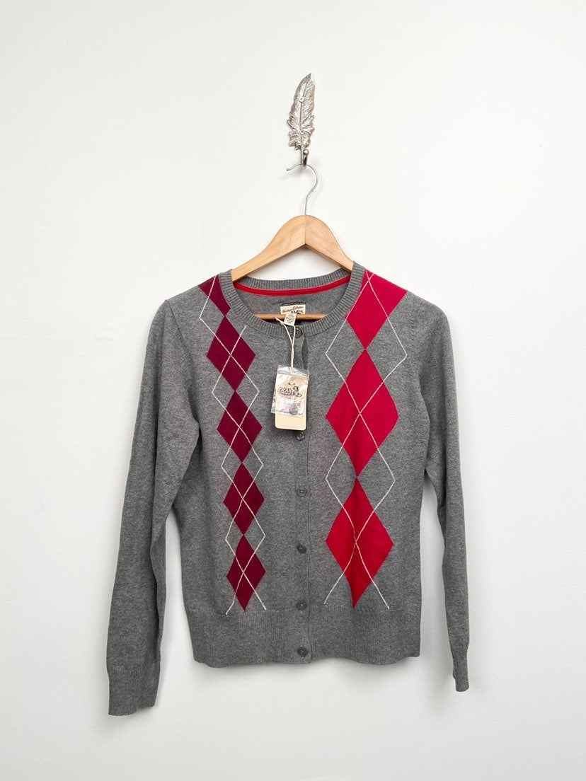 NWT Bass Argyle Cotton Cardigan S $79
