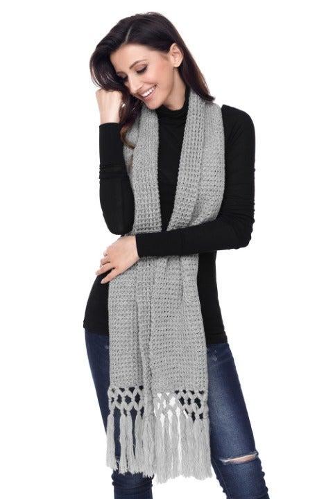 Gray Long Cozy Chunky Knit Tassel Scarf
