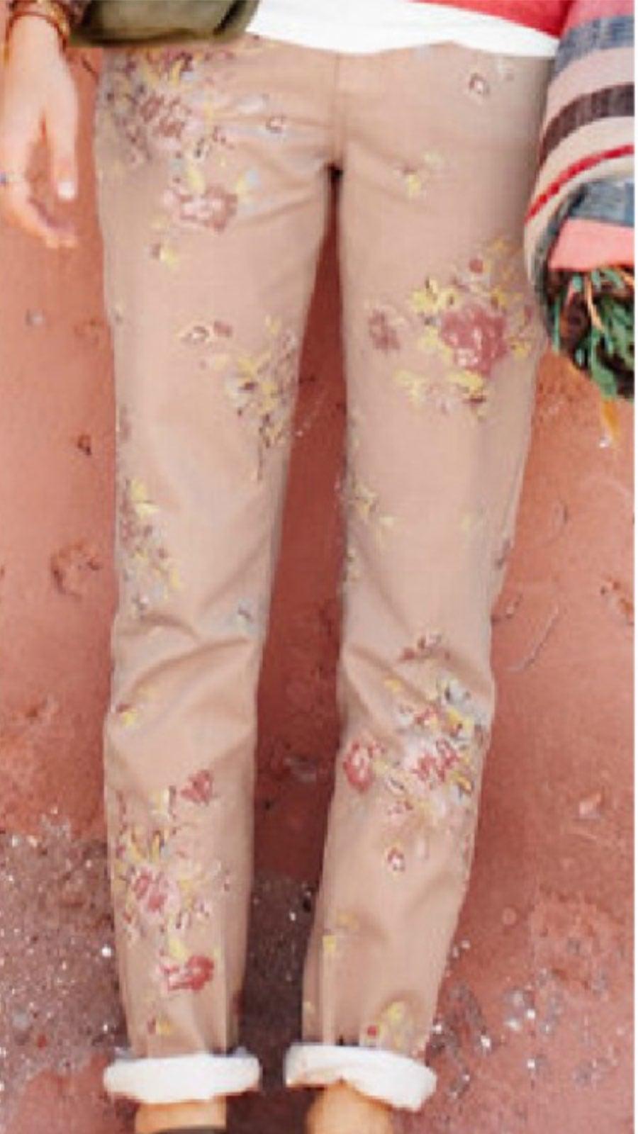 Garnet Hill Floral Jeans sz 6p