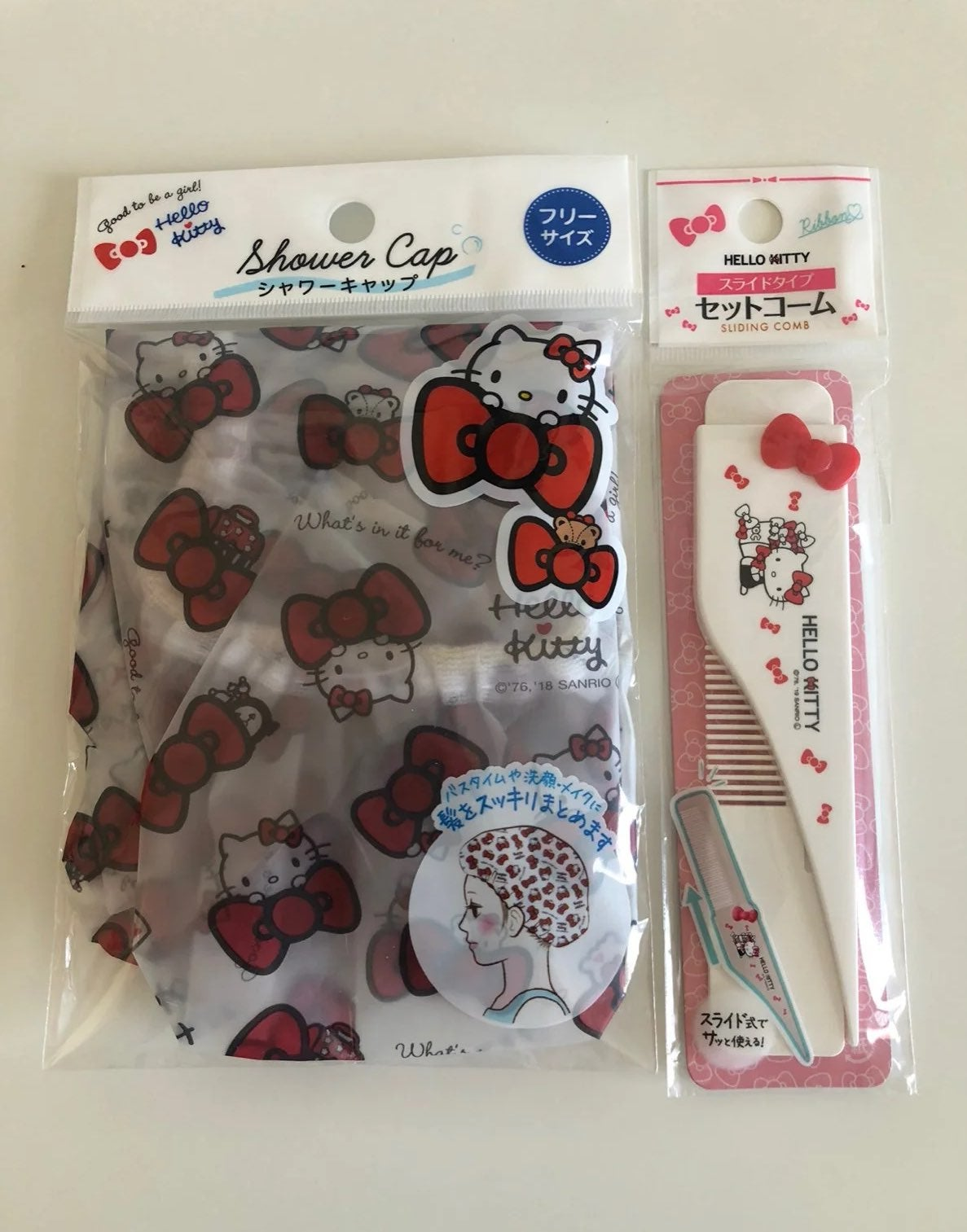 Hello Kitty Shower Cap & Sliding Comb