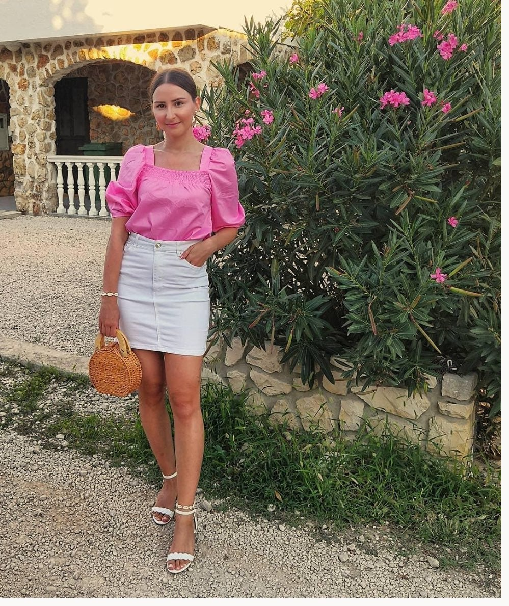 H&M Conscious Pink Puff sleeve blouse