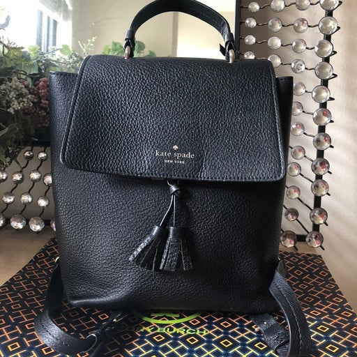 Kate spade black pebbled leather medium backpack