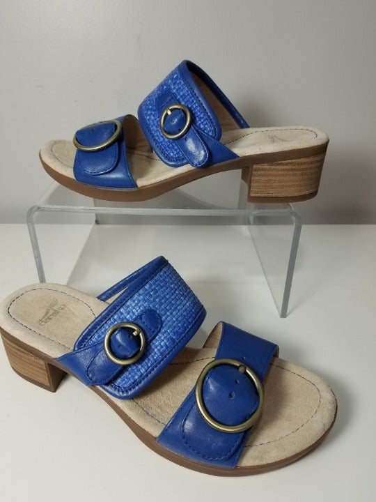 DANSKO SANDALS BLUE LENNY SLIDE SHOES