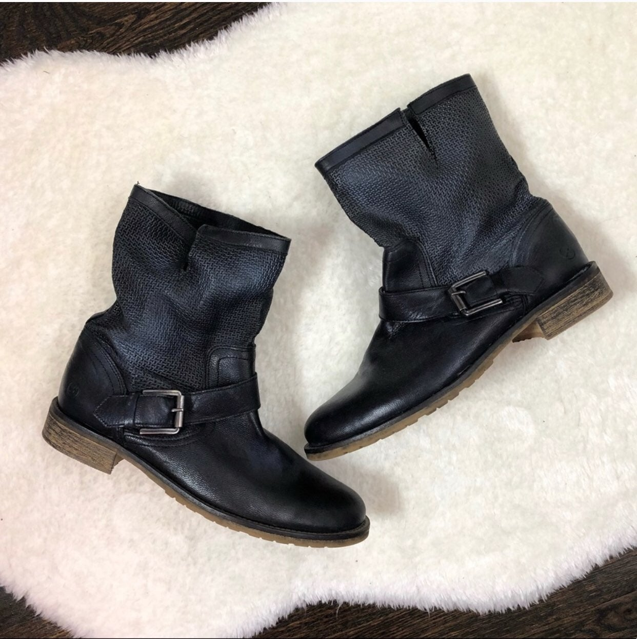 Bronx Black/Blue Leather Ankle Boots