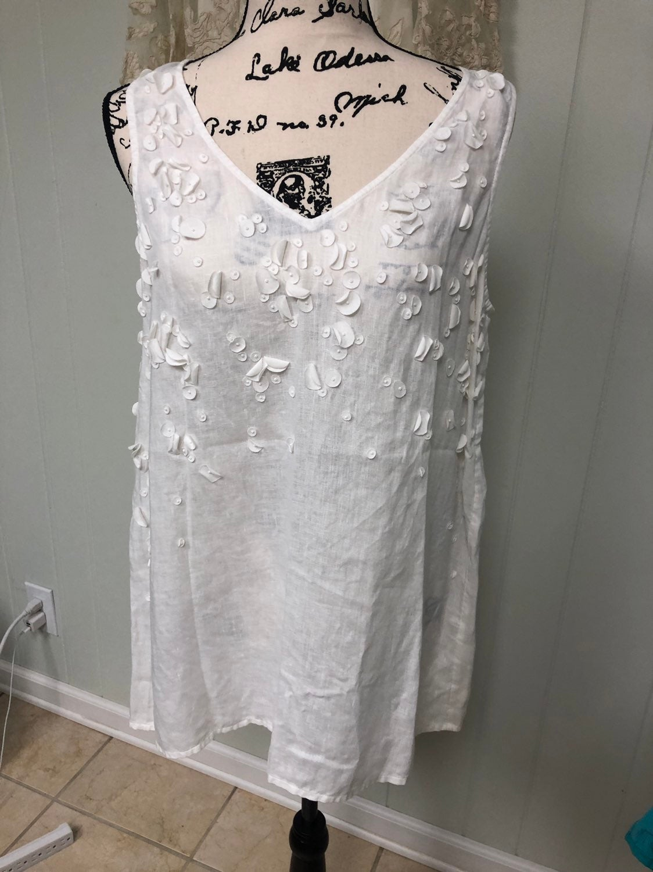 J.Jill 100%Linen Tunic V Neck Flowers