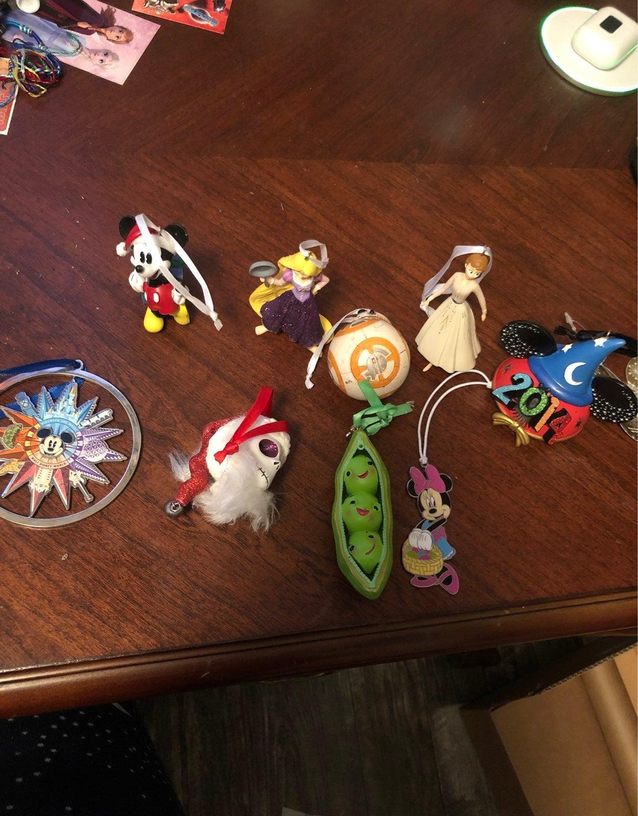 lot of disney ornaments