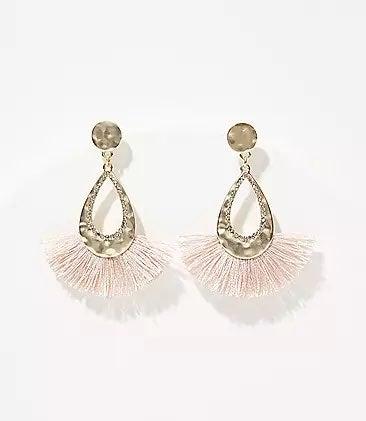 NWT LOFT Hammered Fringe Drop Earrings