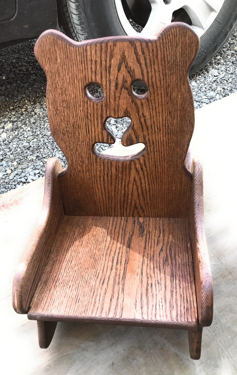 Handmade Toddler Rocking Bear Chair