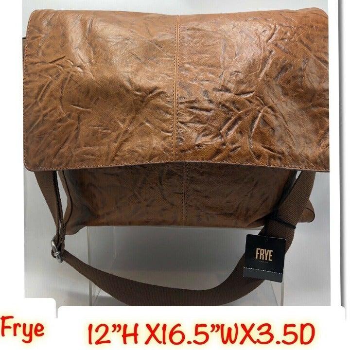 Frye Leather Messenger Brown Bag Retail