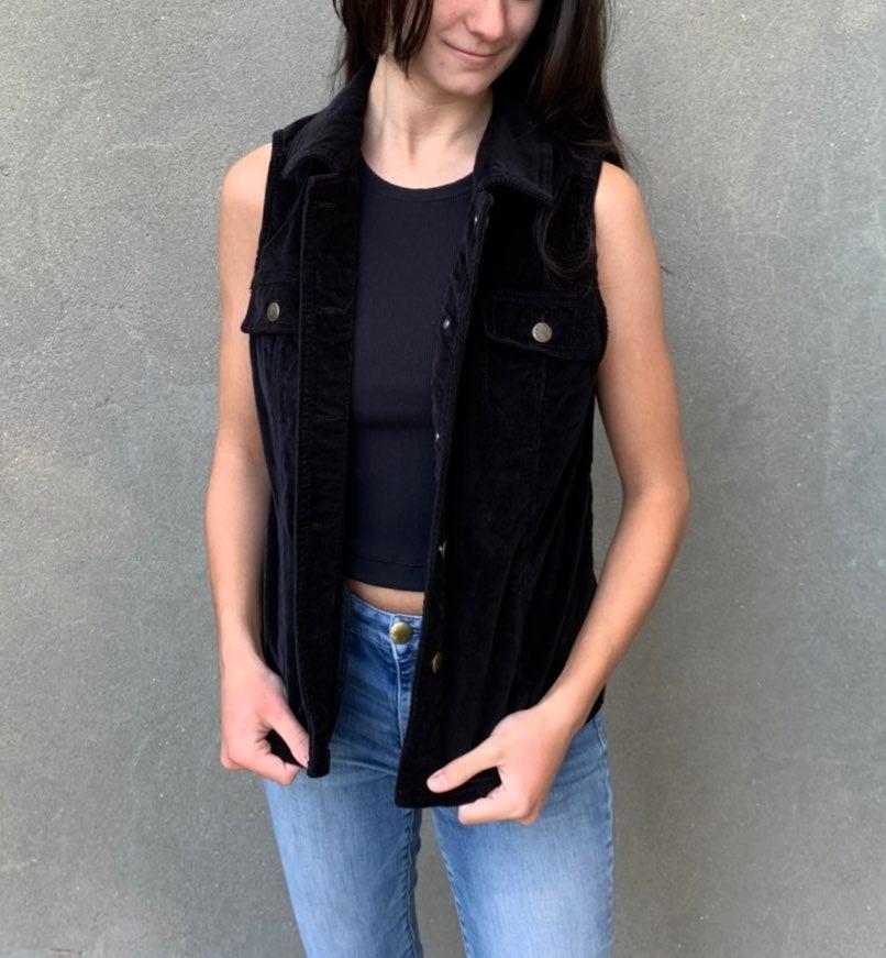 Collard black corduroy vest