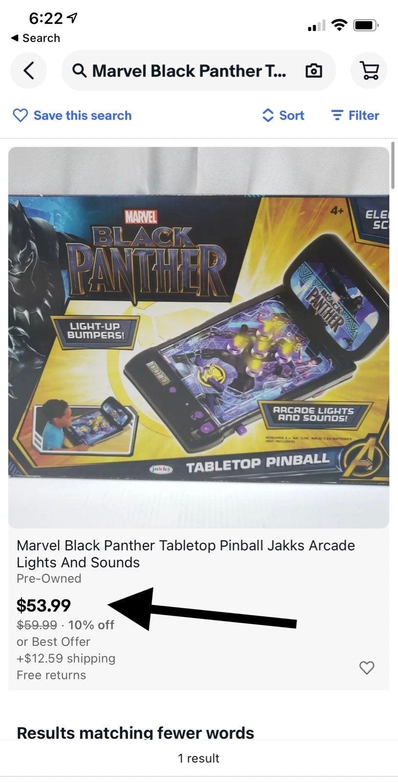 Marvel Black Panther Tabletop Pinball