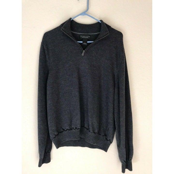 Bloomingdales Mens Grey Wool 1/4 Zip Swe