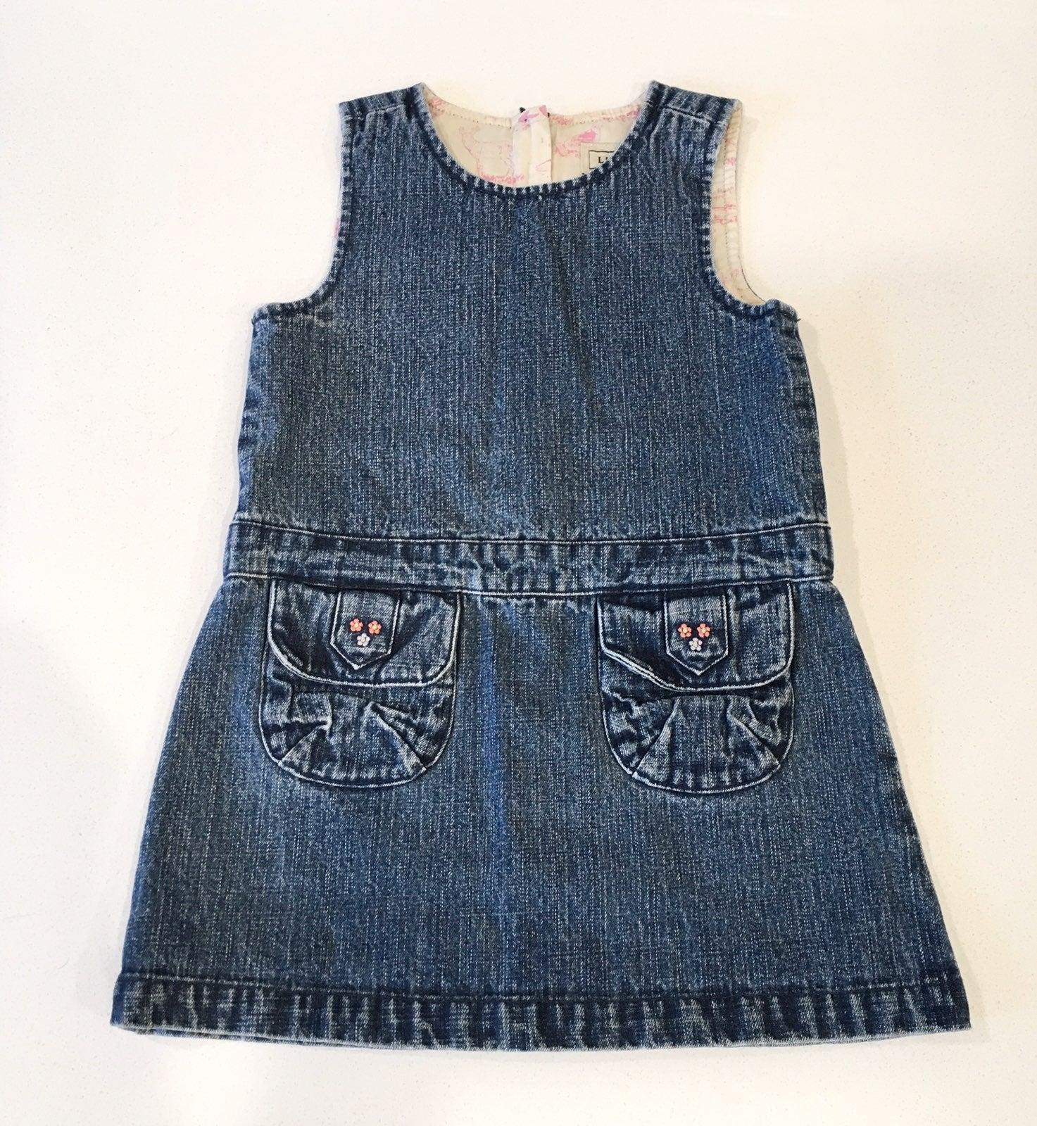 LL Bean Denim Jumper Dress, 2T