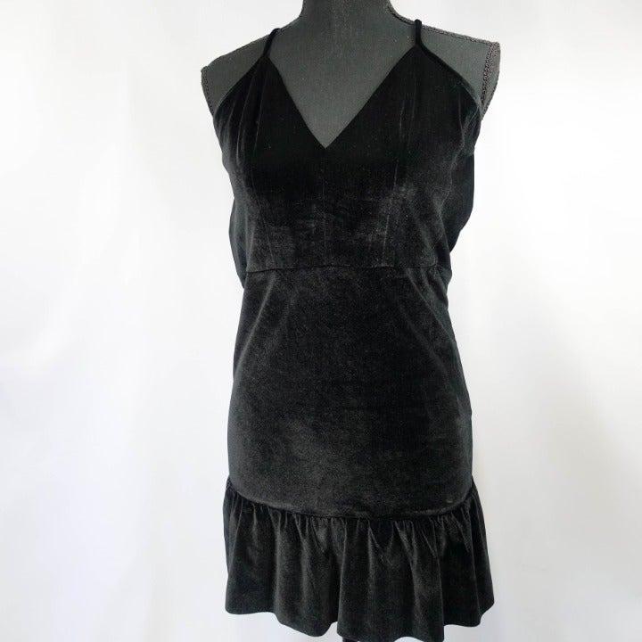 Cosmopolitan black velvet ruffle dress