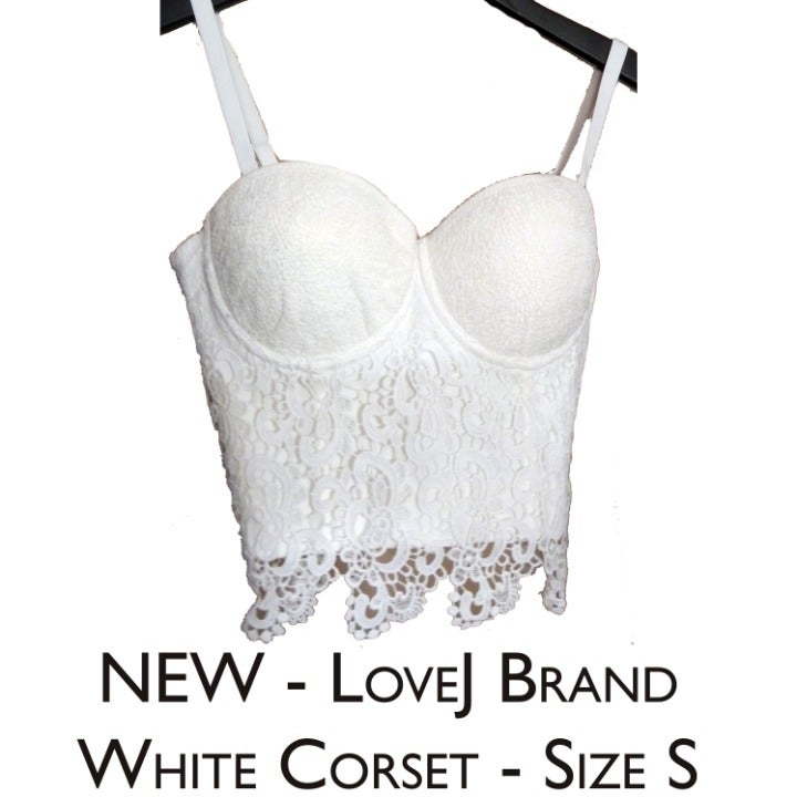 NEW- LoveJ White Lacey Corset Size S