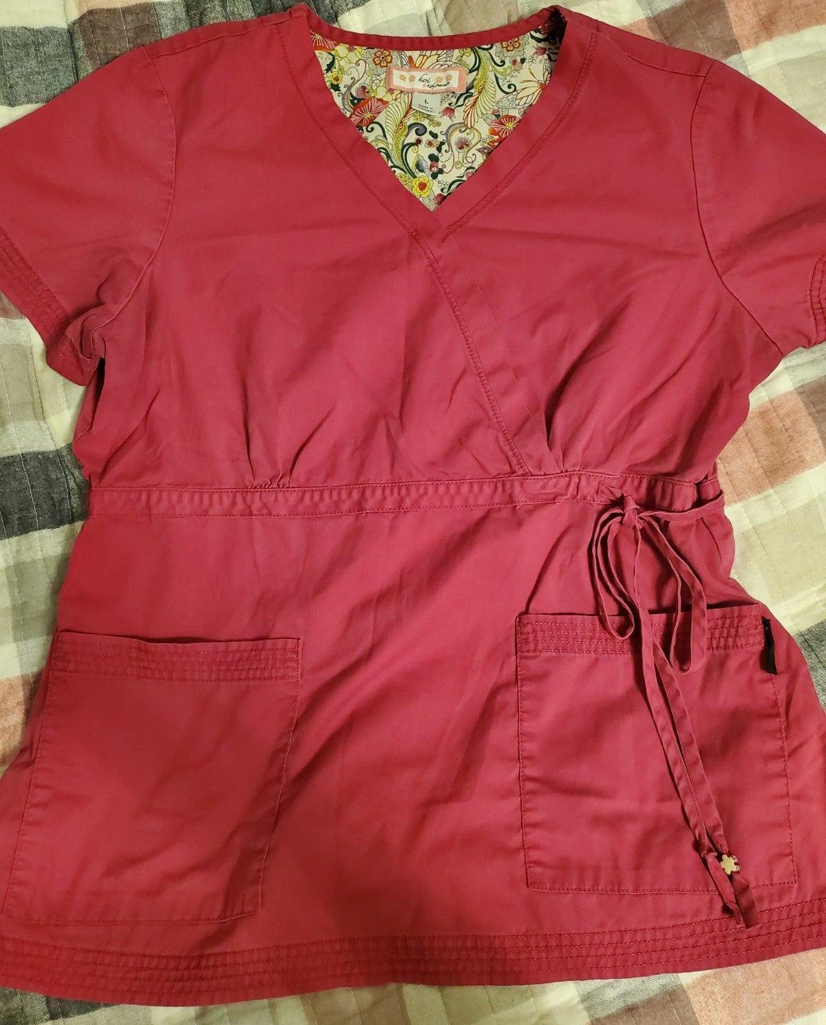 Koi pink scrub top
