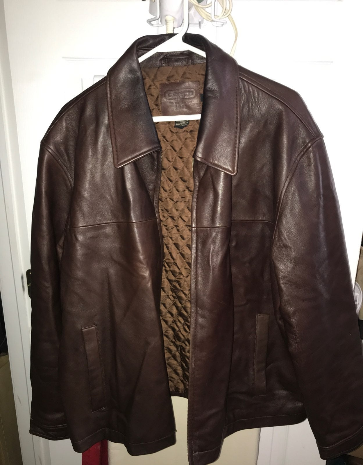 Mens brown leather coach jacket