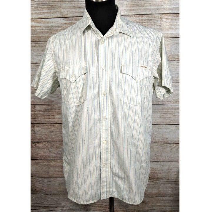 Lucky Brand Cream Blue Western Shirt XL
