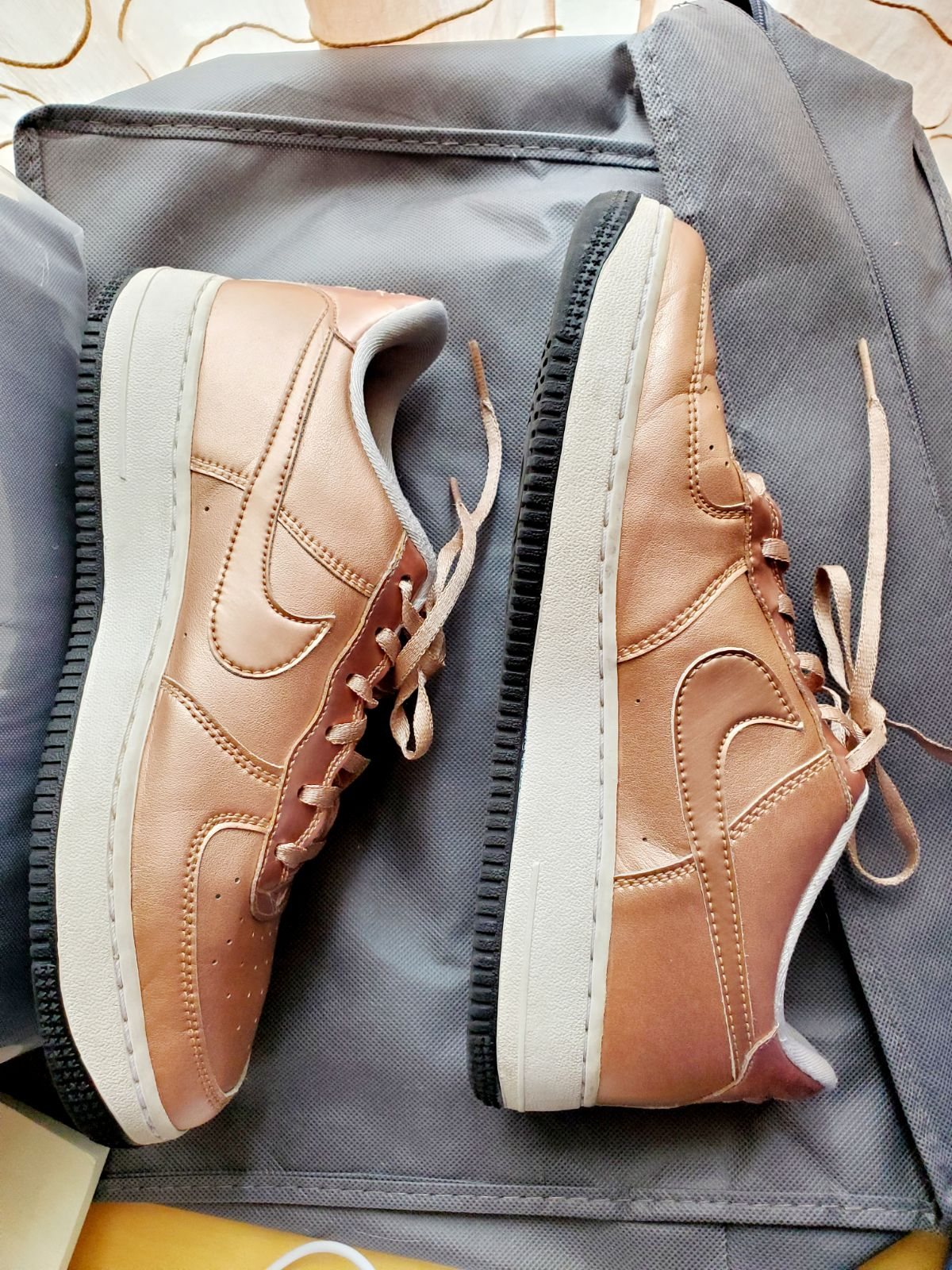 Nike Air Force 1 Copper Metallic Shoes