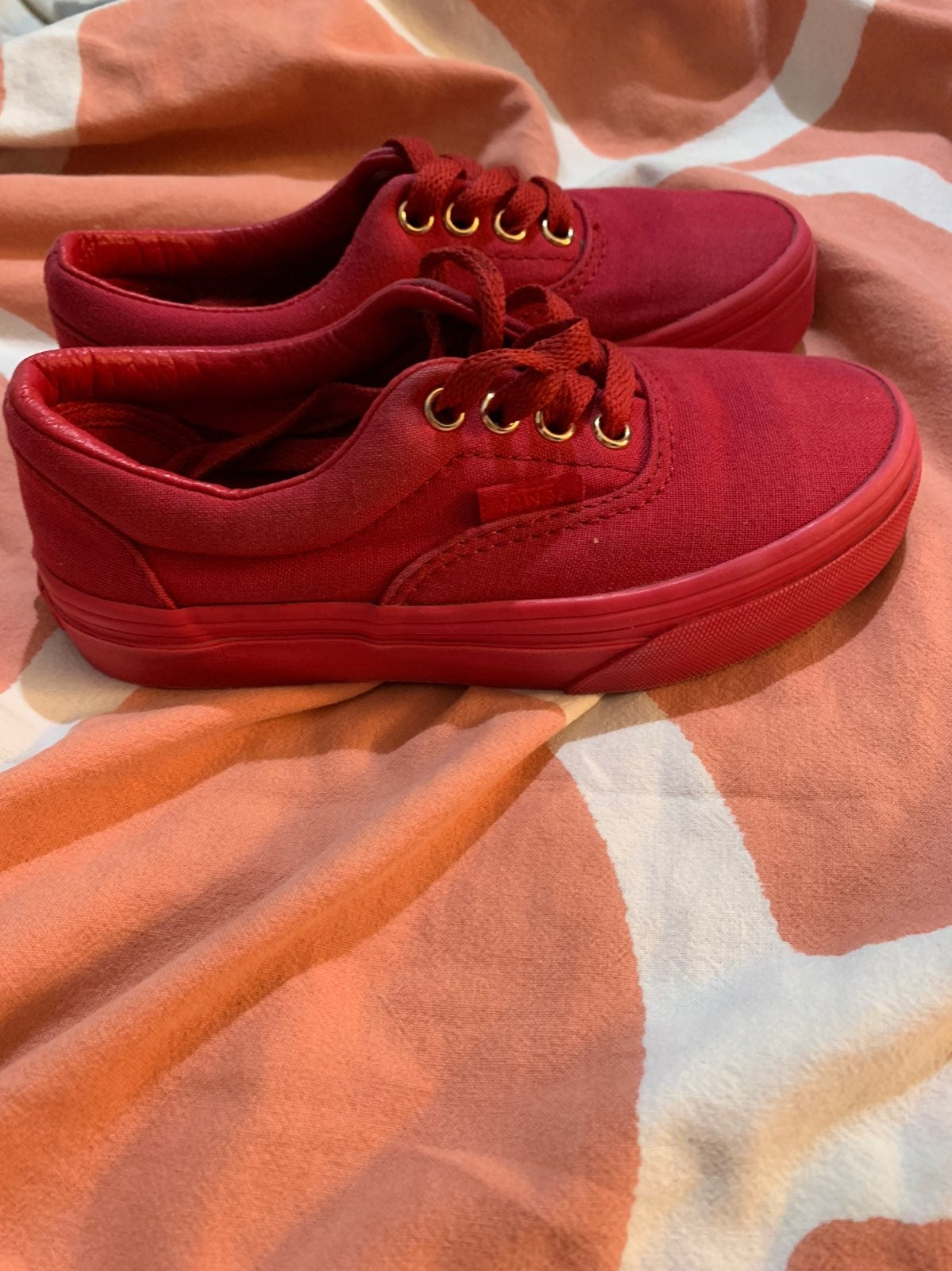 red canvas vans