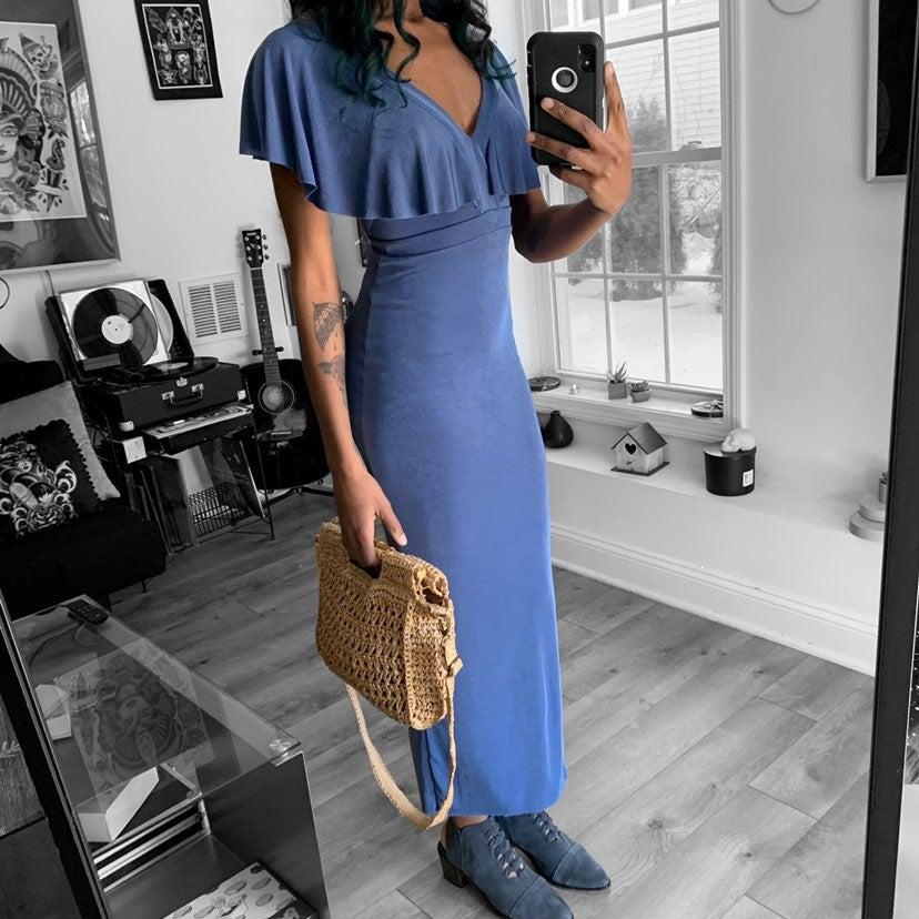 UO Transcendent Ruffle Sleeve Maxi Dress