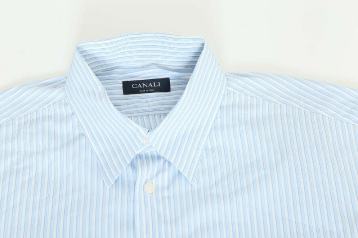 Canali Large Blue Striped Shirt Italy