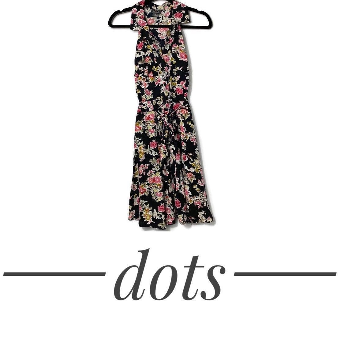dots Floral Sleeveless Button Down Dress