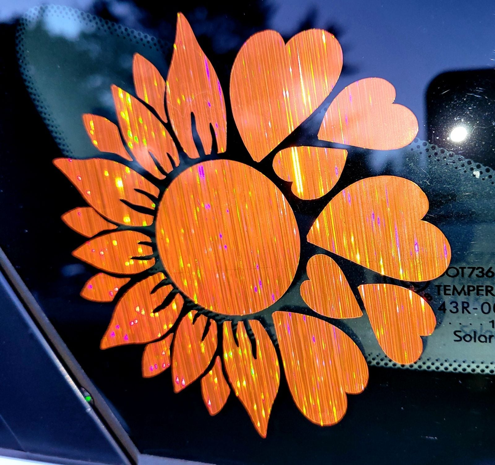 Sunflower heart holographic decal