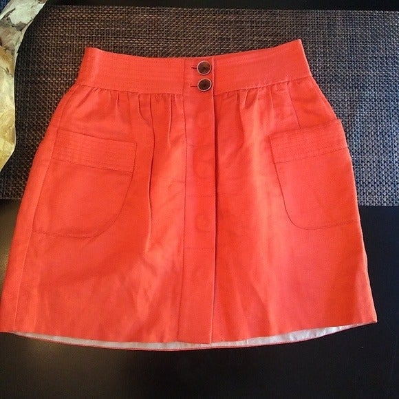 J Crew Linen Orange Button Down Skirt