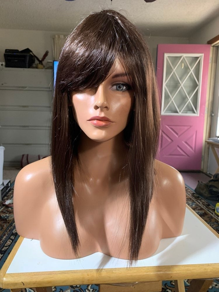 #280 Brown longer in front synthetic wig