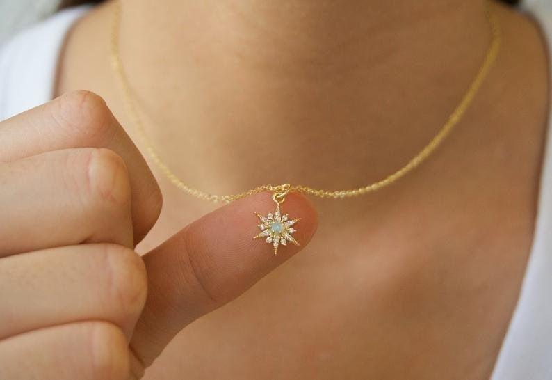14k Yellow Gold Opal Starburst Pendant