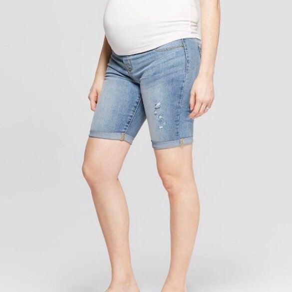 Isabel Maternity Midi Shorts W// Crossover Panel Dark Wash Size 6 NWT! NEW