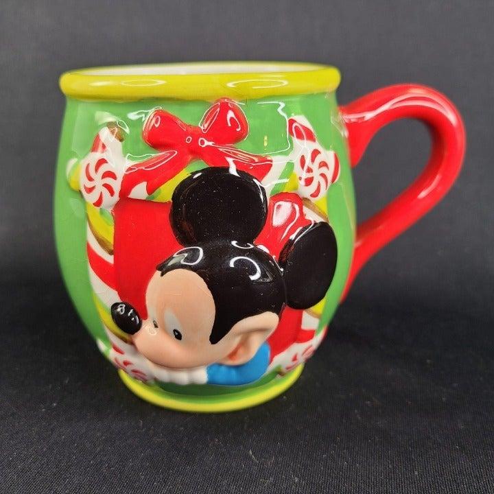 Disney Mickey Mouse Christmas Holiday Mug Embossed 3D Coffee Tea Cup Green READ