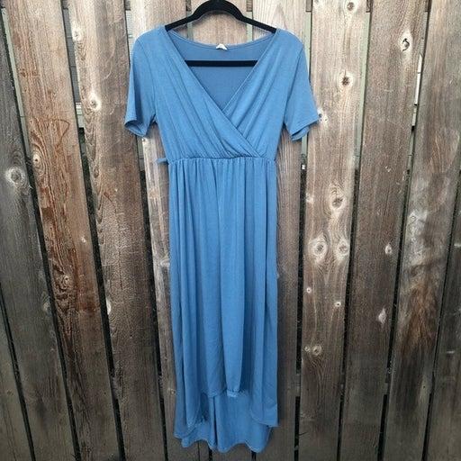 PinkBlush Blue Maternity Maxi Dress