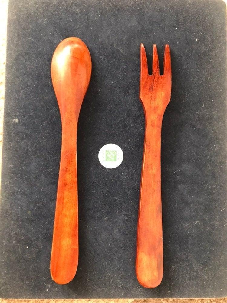 Salad Spoon&Fork Red Wood Set