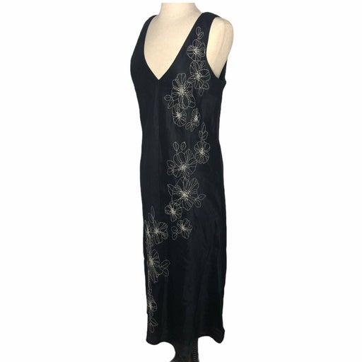 City DKNY Linen Dress Floral Black 12