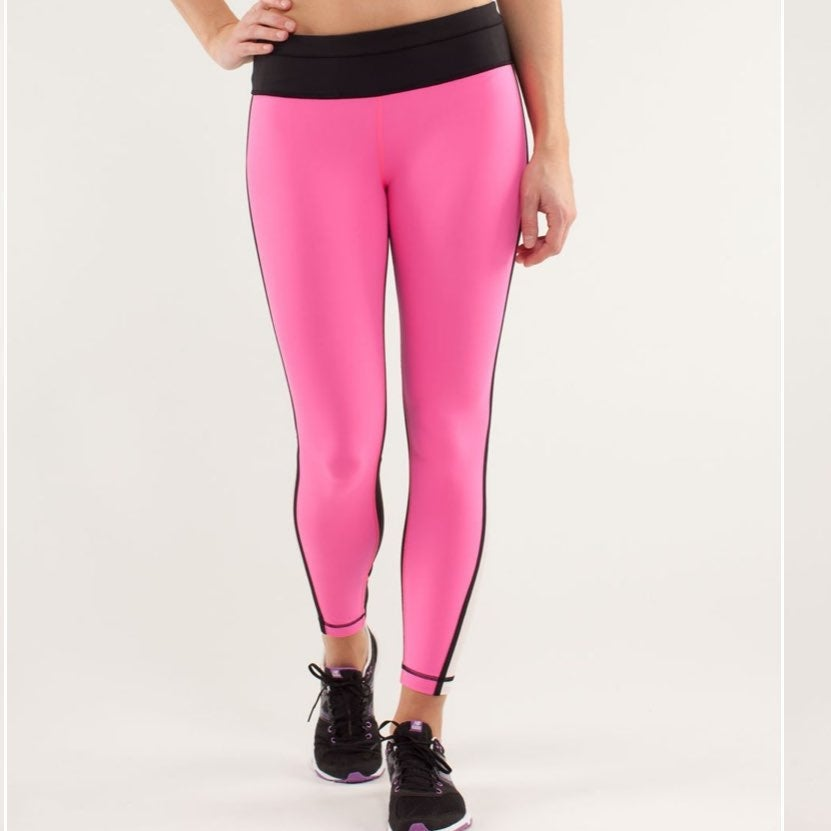 Pink and black lululemon pace tight 4