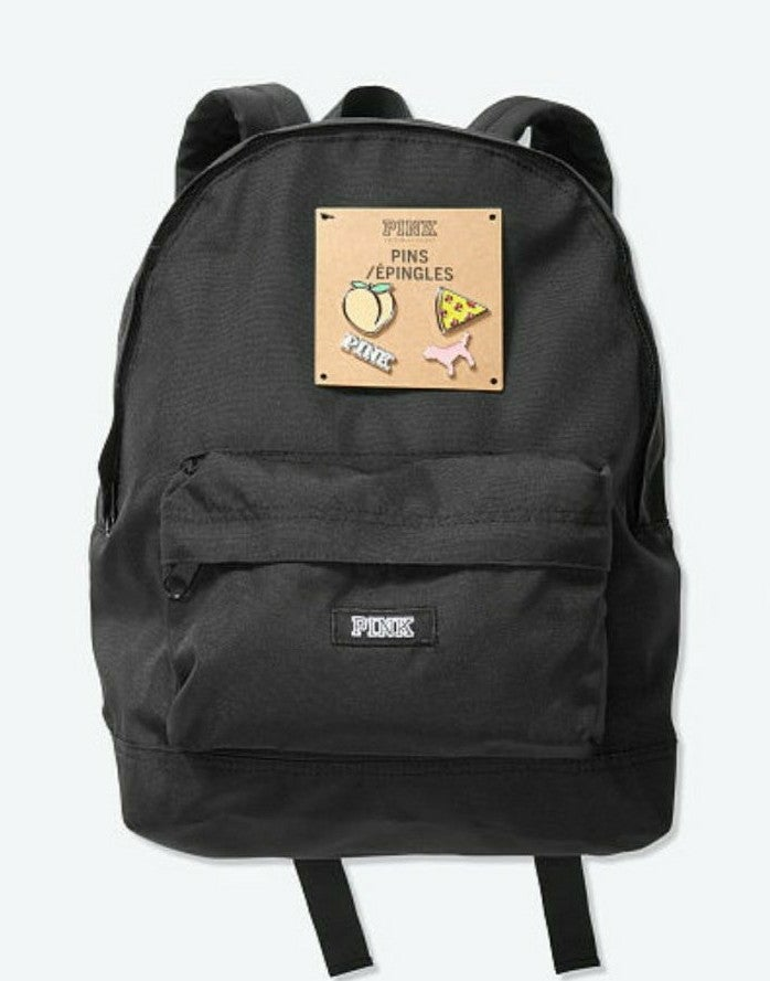 VS PINK MINI BACKPACK WITH PINS BLACK