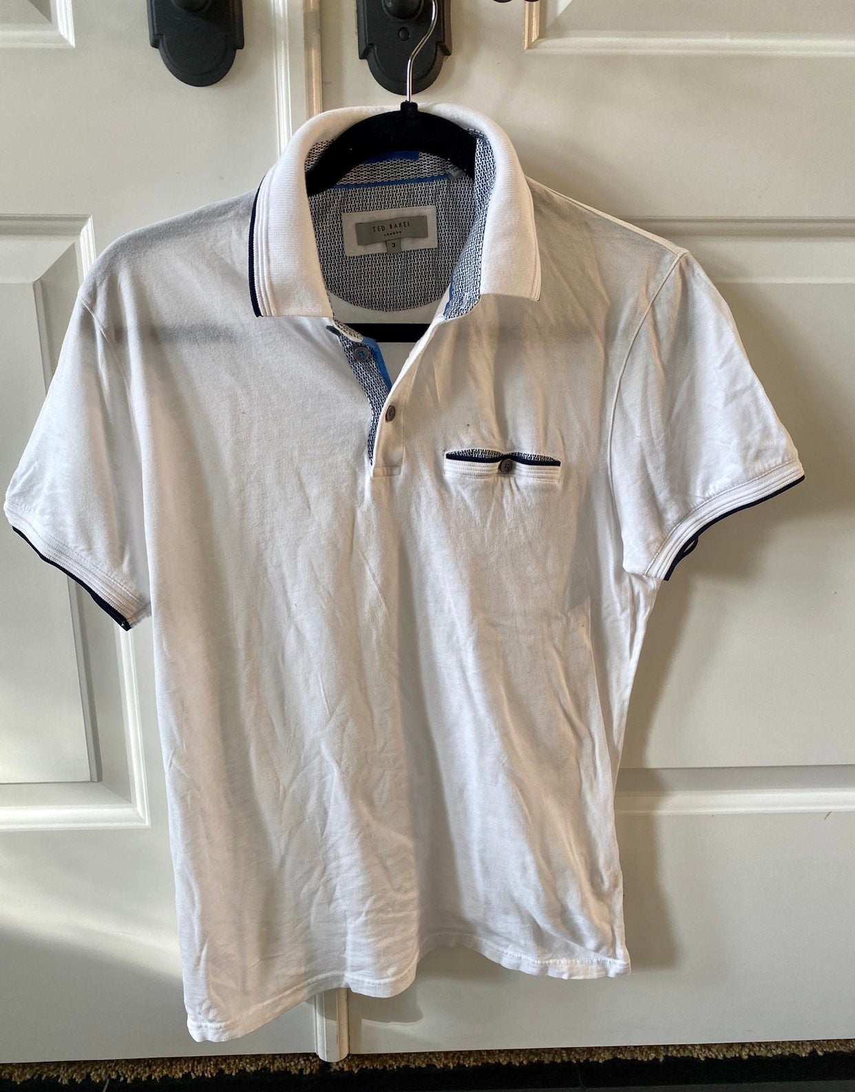 Ted Baker Boomie White Polo Shirt Sz 3