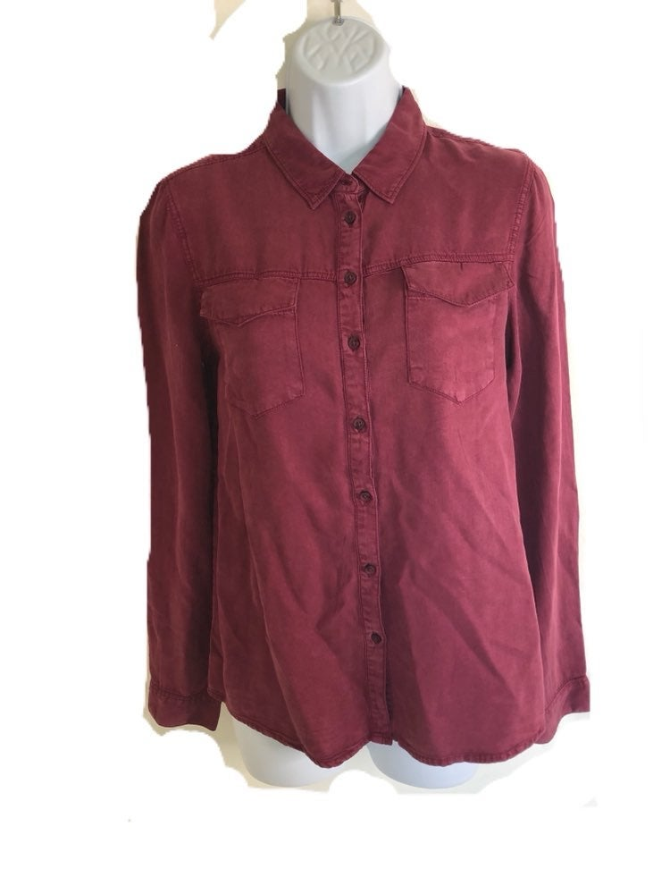 YMI Luxe Very Soft Maroon Denim Shirt